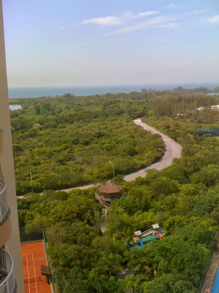 View from the balcony. enviromnental reserve, lake and beach