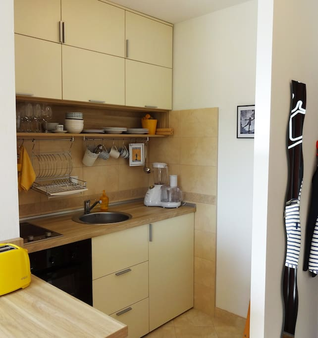 the compact kitchen, with everything you need: the hot plates, standard oven,fridge hidden under the countertop and some smaller appliances.