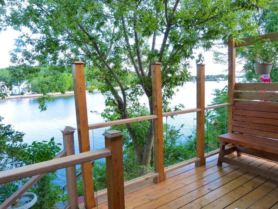Trent River water front, deck view, front row seats to all water activity!!