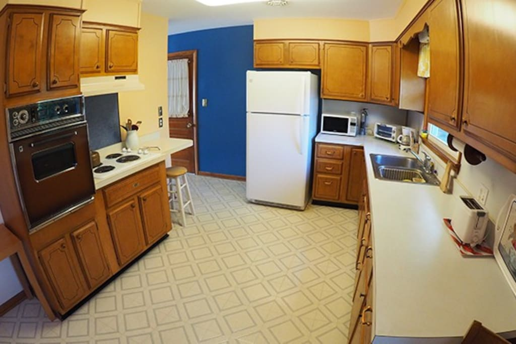 Spacious Kitchen; Pots, pans, utensils and everything you'll need including the kitchen sink.