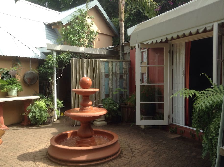 Courtyard in front of air-conditioned bedroom