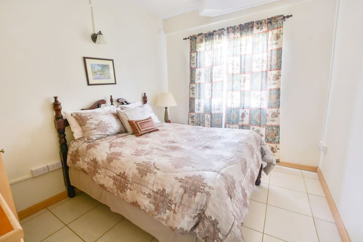 Queen bed in the second bedroom with plenty of natural light.