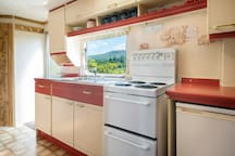 The kitchen - there is no dishwasher, but the view from the sink is amazing!