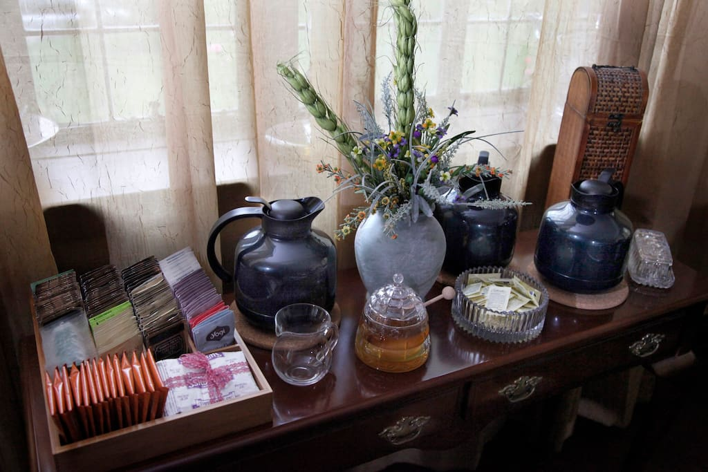 The coffee and tea station.