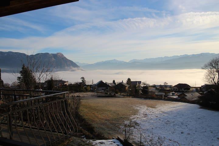 l'apaloi, vue  Mont Blanc, terrasse, vignoble