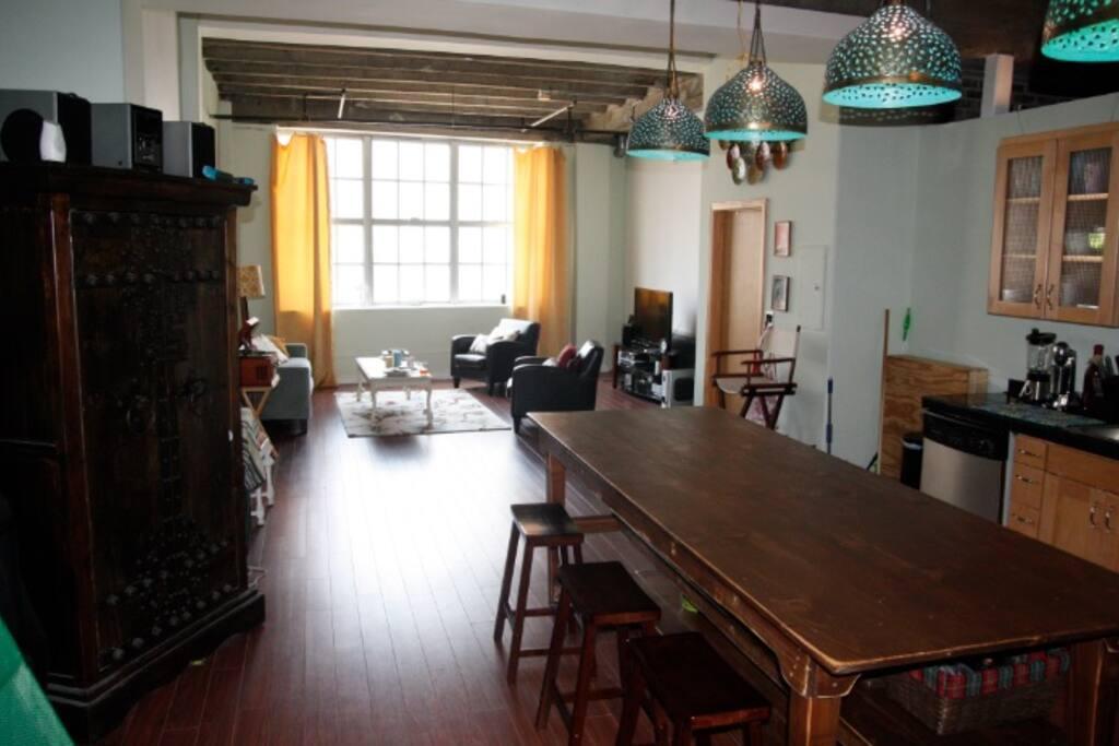 Open kitchen and living room floor plan.