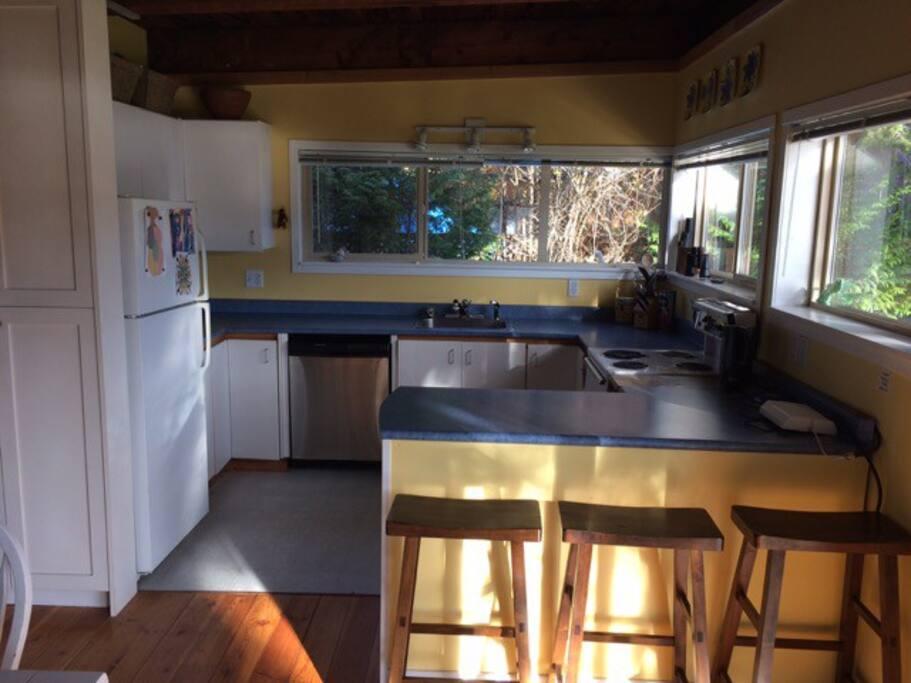 kitchen with dishwasher, stove, fridge and microwave