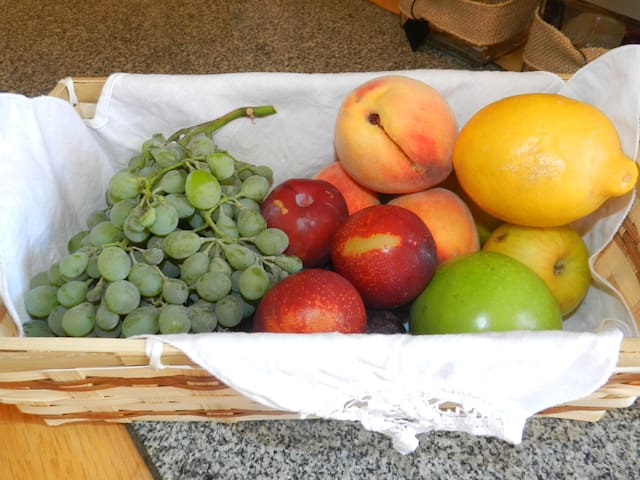Complimentary seasonal fresh fruit for each guest picked from the property.