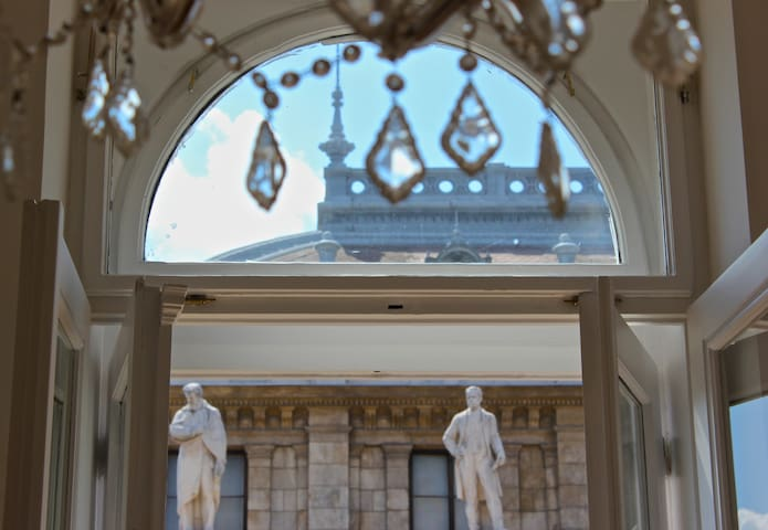 Hungarian Composers Statues from the windows