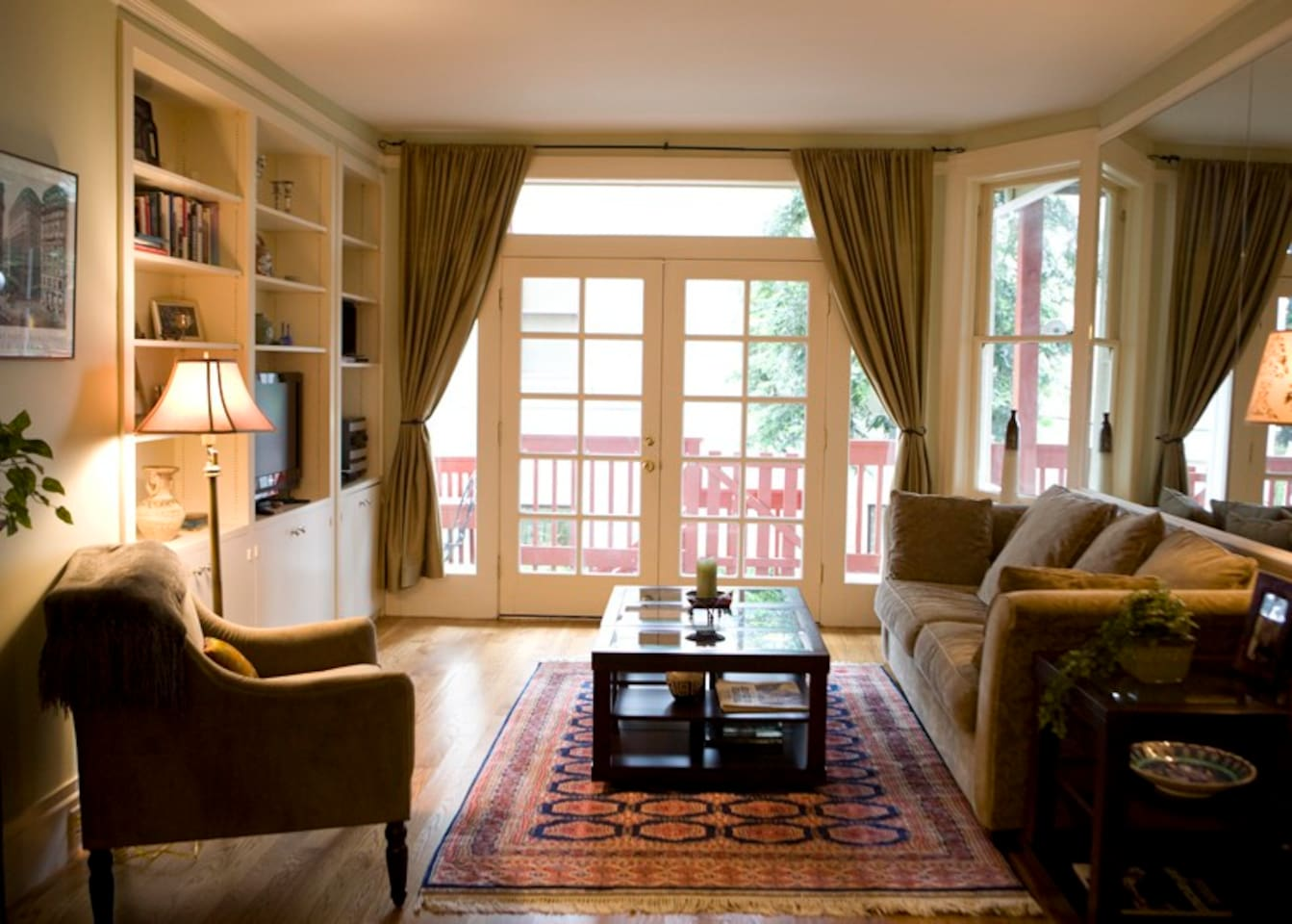 living room with french doors out to deck