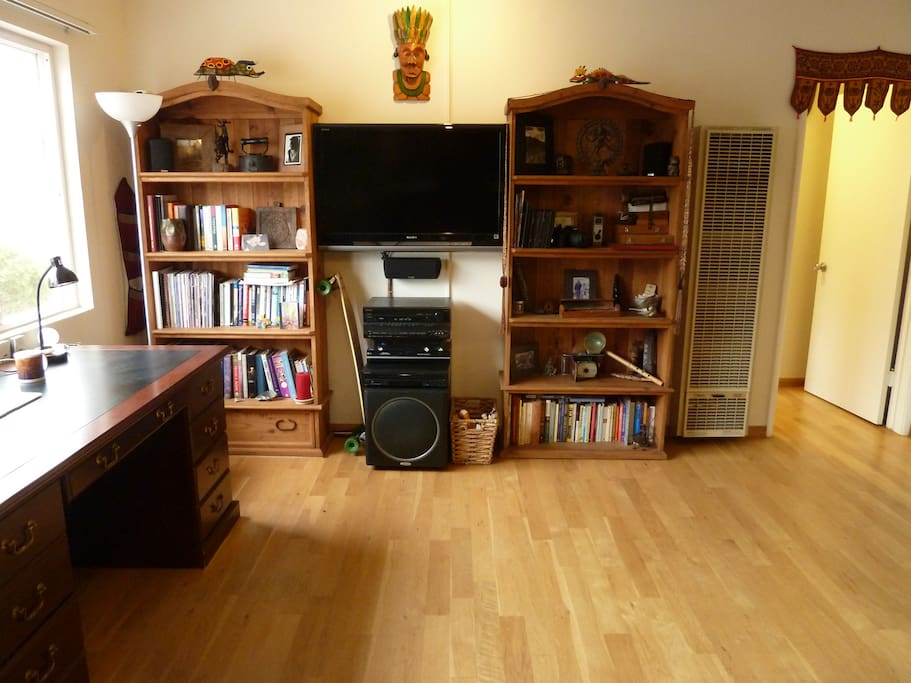 Includes a great stereo system with speakers in the bedroom (they can be turned on or off), and DirecTV cable.