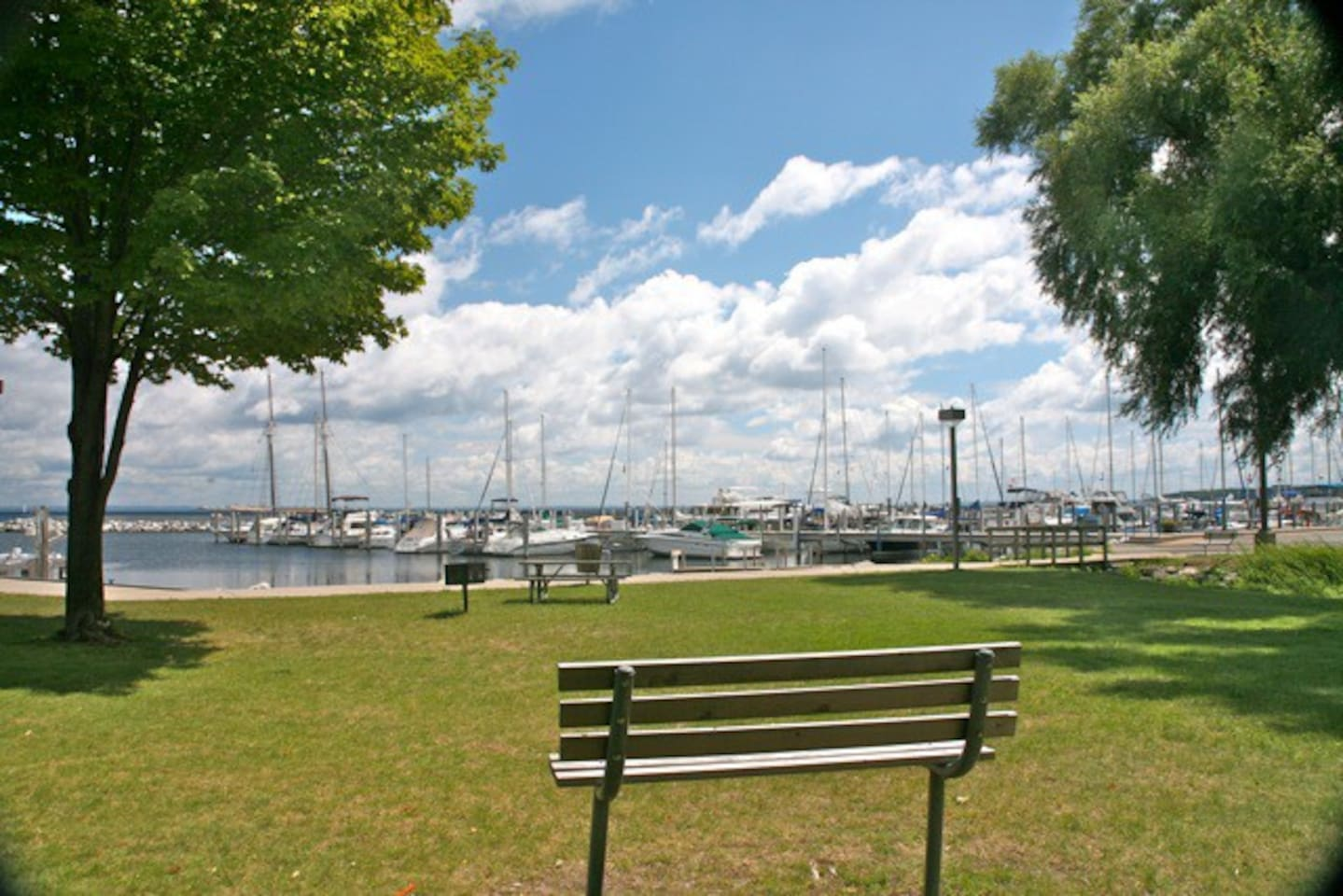 Beautiful location next to Marina in Northport near Leland , 2 bedroom 1 bath Cottage . View from cottage
