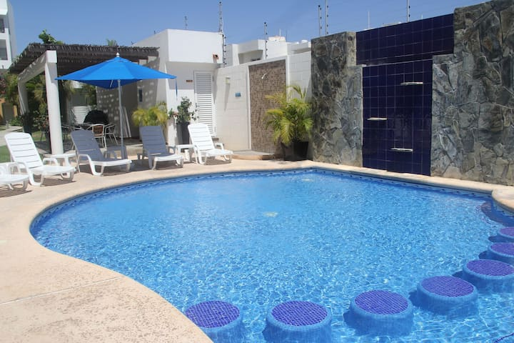 Pool and seating.