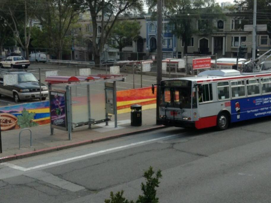 The bus lets off right in front of the apartment