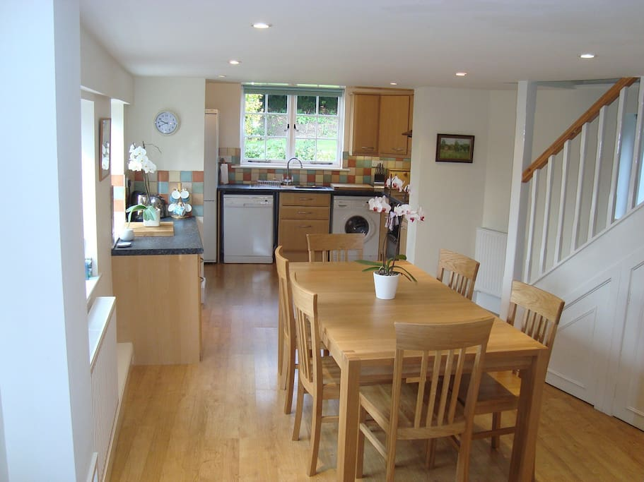 Kitchen and dining room.  Very light and spacious