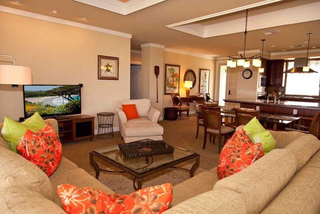 Our great room is really great! Room for 8 (or more!)  Surround sound and big screen TV too!