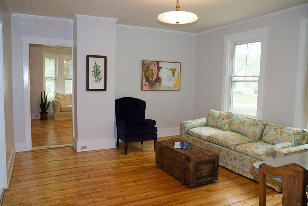 Wood floors throughout and pets welcome.