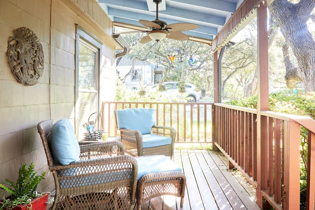 Watch the birds and butterfly garden from the front porch.