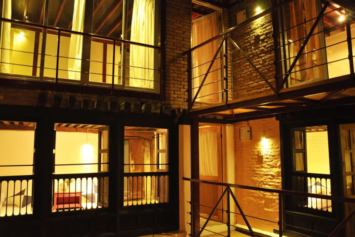 Inside courtyard: the room is in front on the  first floor