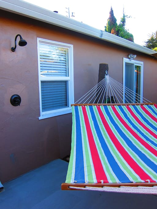 Outdoor shower and hammock