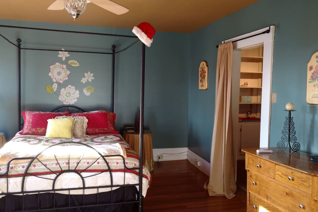 Master bedroom decorated for the holidays.