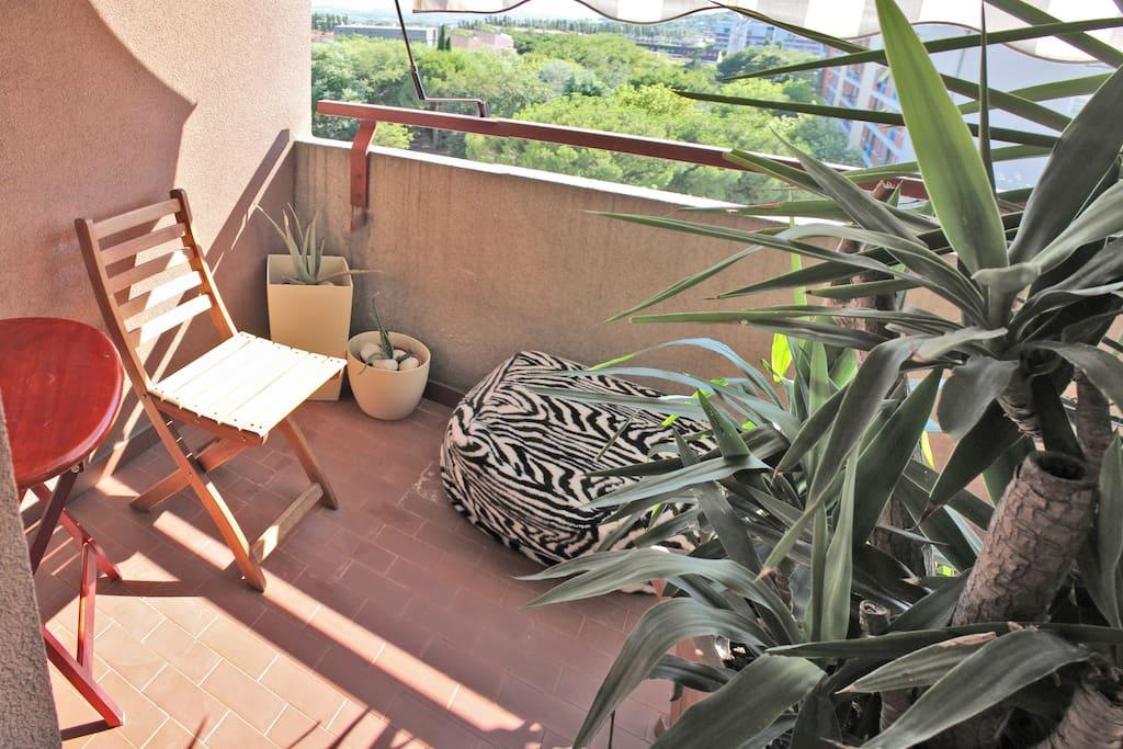 terrazzo riservato per gli ospiti con piante e tavolino con vista stupenda al tramonto