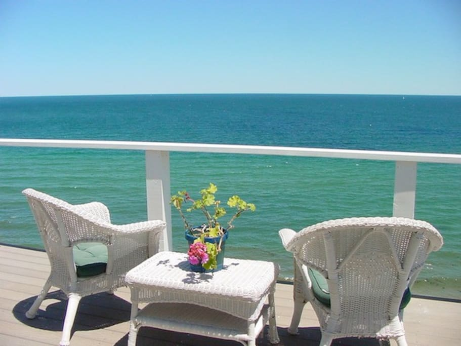 Direct Cape Cod Bay views from three rooms and all outdoor patios at the B&B