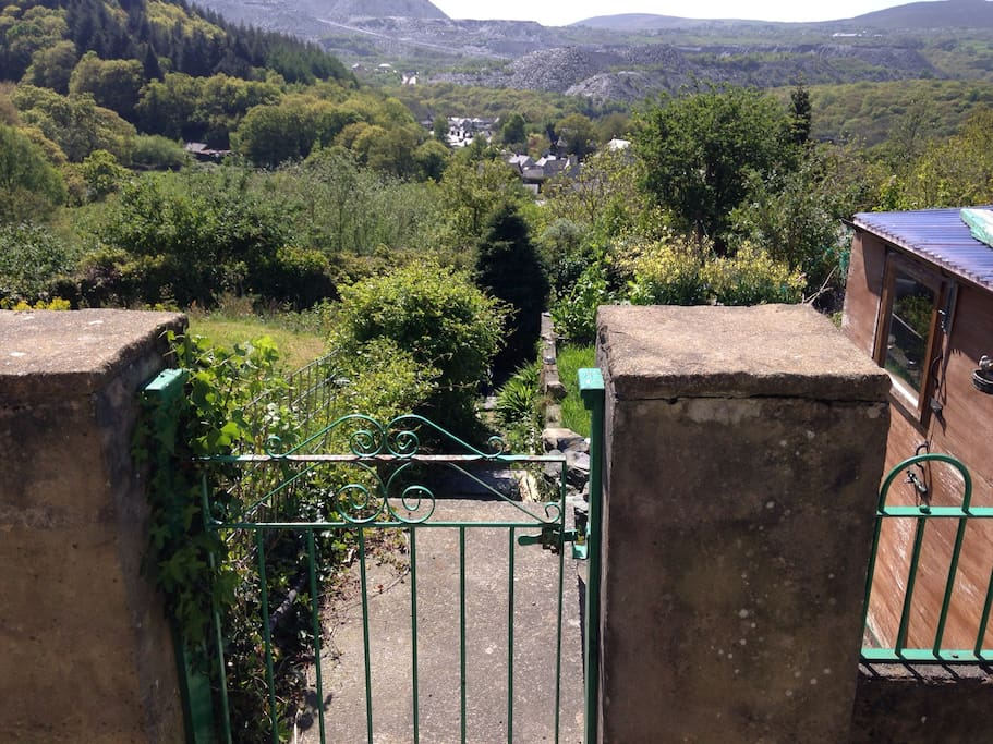 Downward view from the front door of the garden & shed