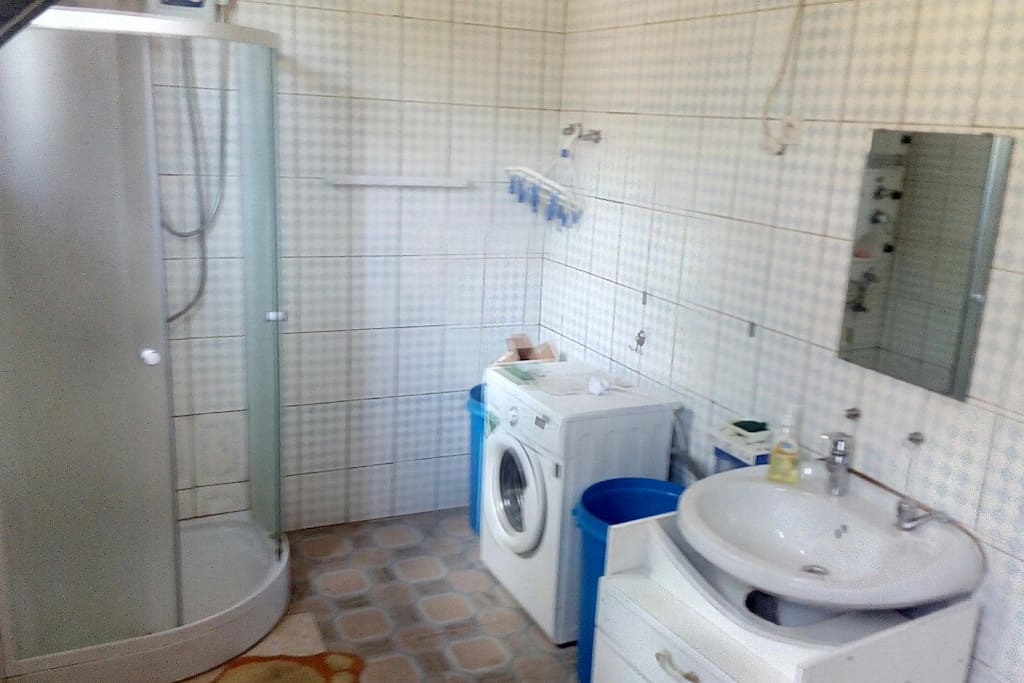 the bathroom and a washing machine