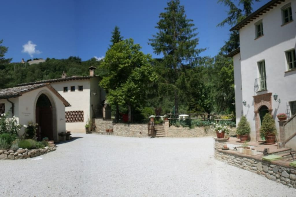 Our small piazza with views of the medieval hamlet  Montone