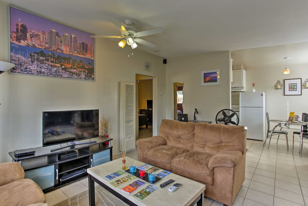 After a day at the beach, find refuge from the sun in the spacious living room.