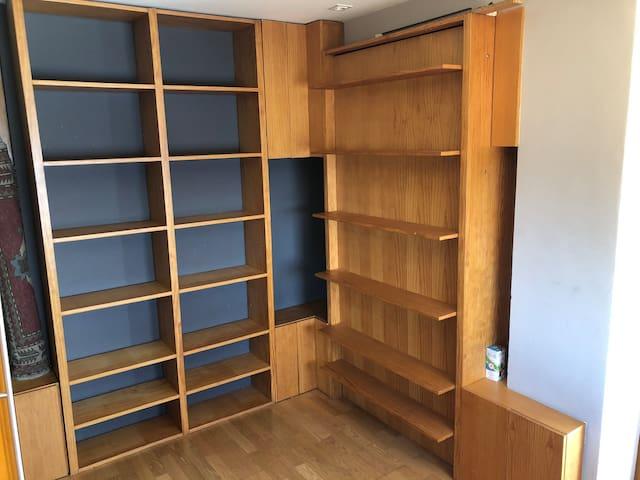Zona de estanterías de la habitación - estudio, con cama empotrada en la pared