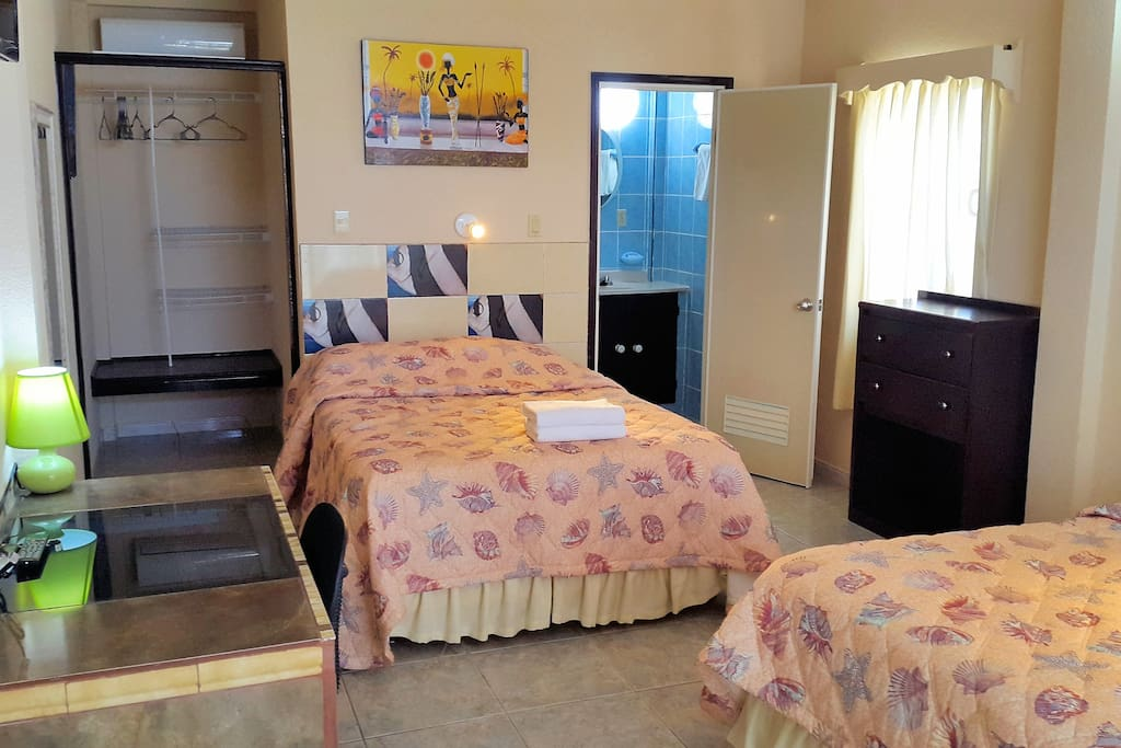 4 of our 6 Ocean View Rooms has 2 double beds, the other two has 1 king bed.