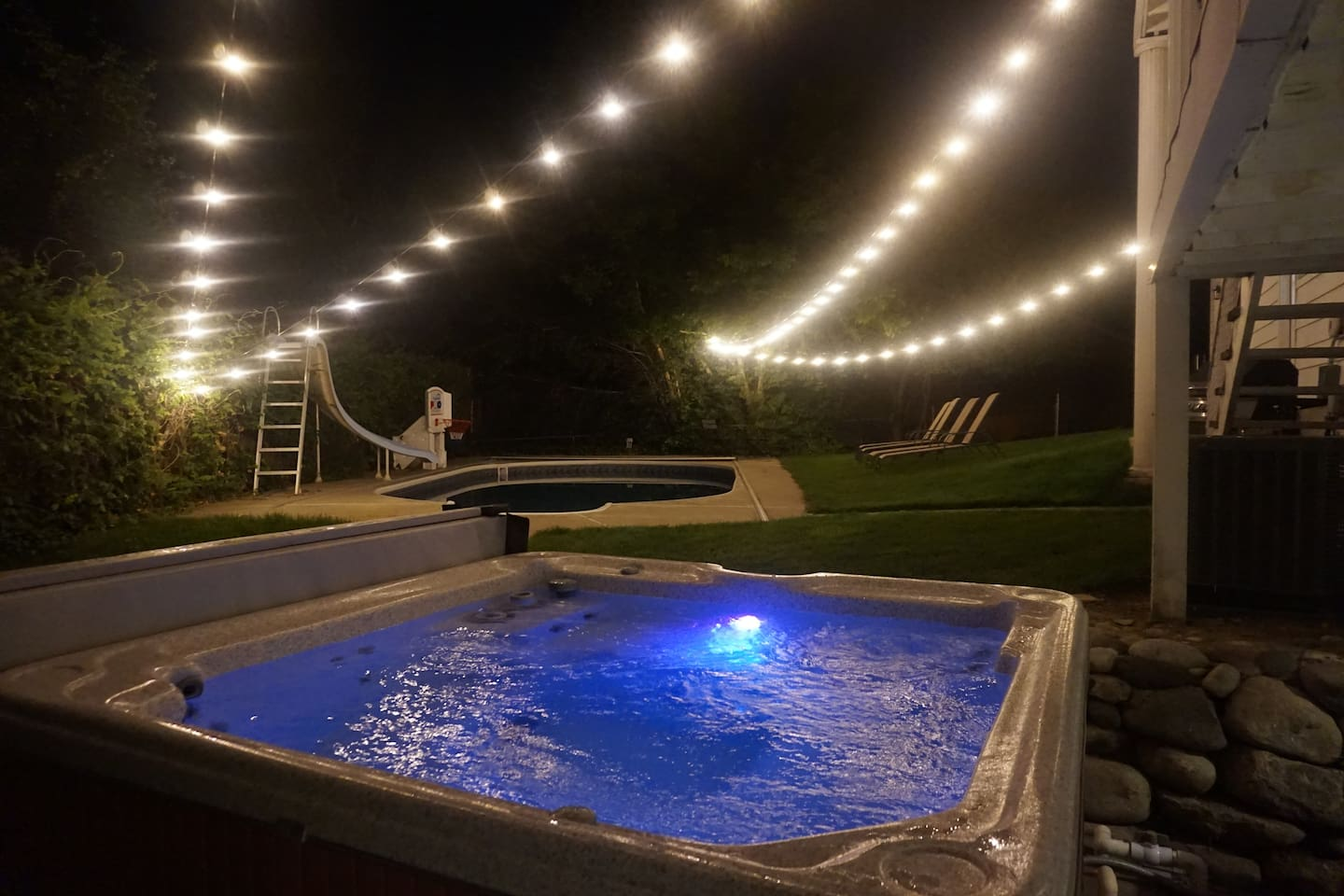 View of pool from private hot tub