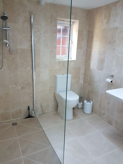 walk in shower with grab bar and stool if needed. Full length mirror in cupboard.