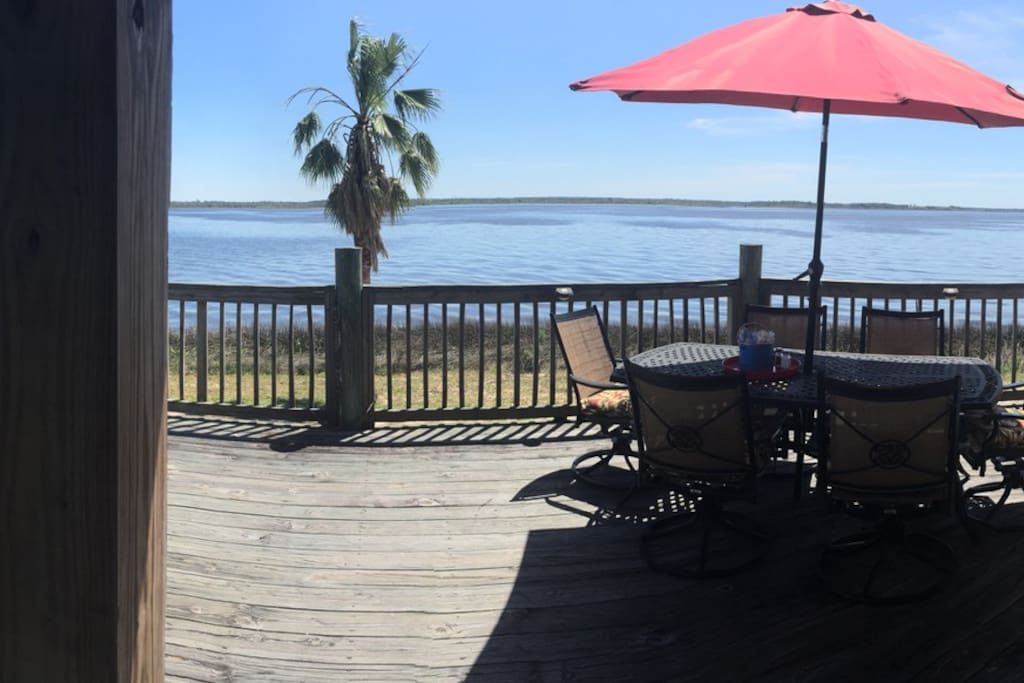 panoramic from deck overlooking Blackwater Bay.