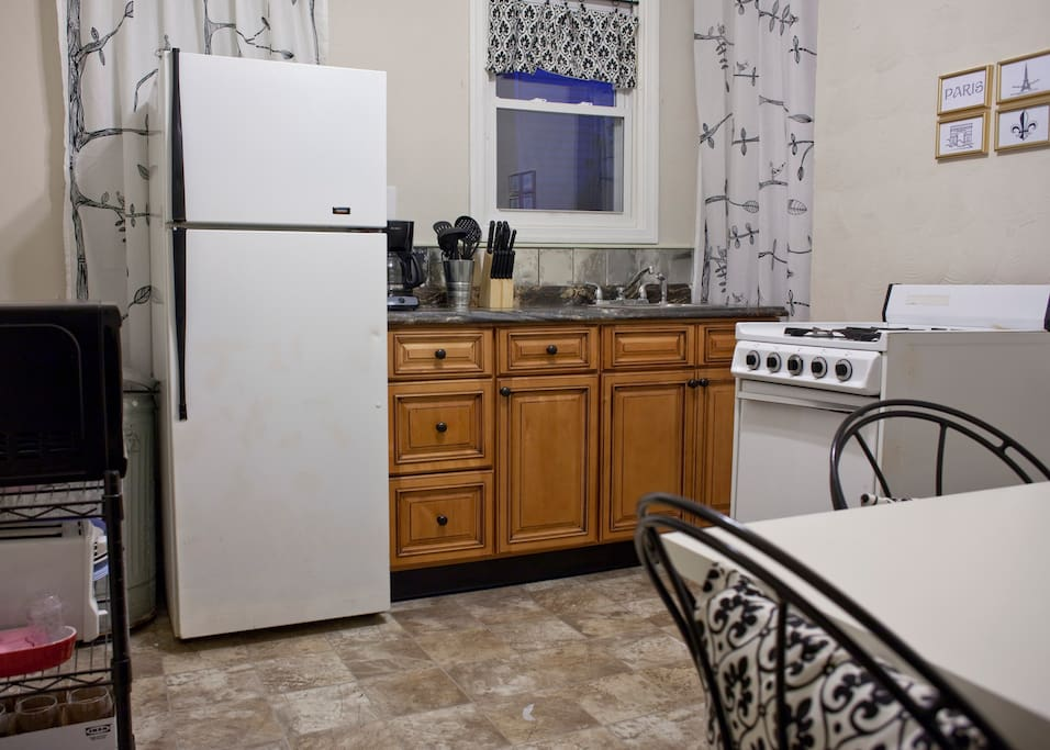 New kitchen makes it easy to prepare and serve a meal or snack.