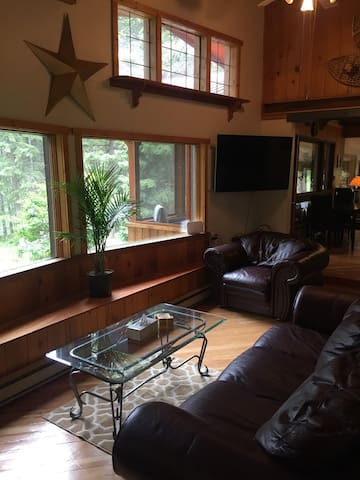 The living area has large windows to let in the natural light.  A TV is provided with a DVD player.  The cabin has a small collection of movies. (There are no channels or cable TV, but WIFI is strong here, so bring your devices.)