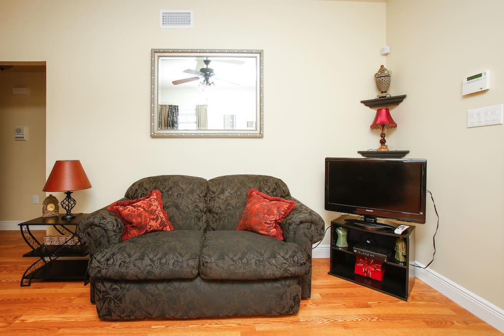 Love seat with TV