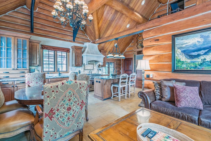 Luxurious Log Cabin with High-End Finishes and an Open Concept Living Space Just Steps from the Mountain Village Core