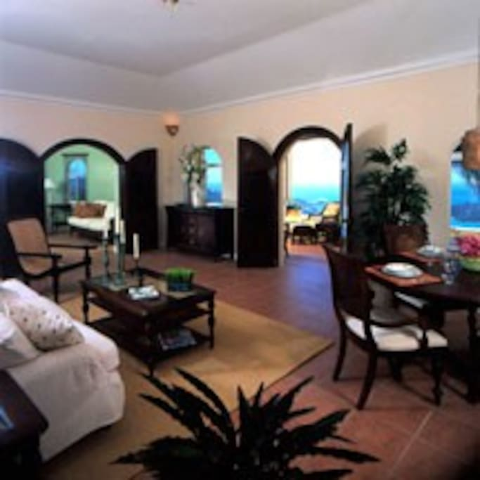 Classic West Indies villa living room.