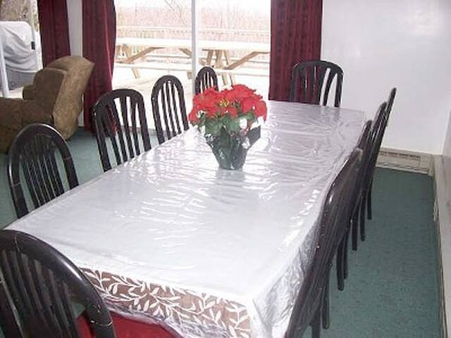 Oversized dining table seats 10