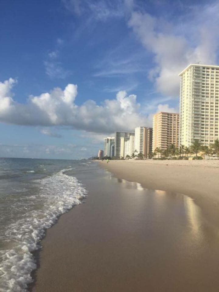 beach on hotel strip