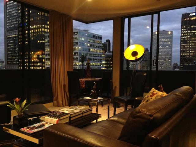 Lounge room looking out into the city
