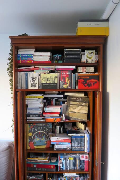 The living room is full of books