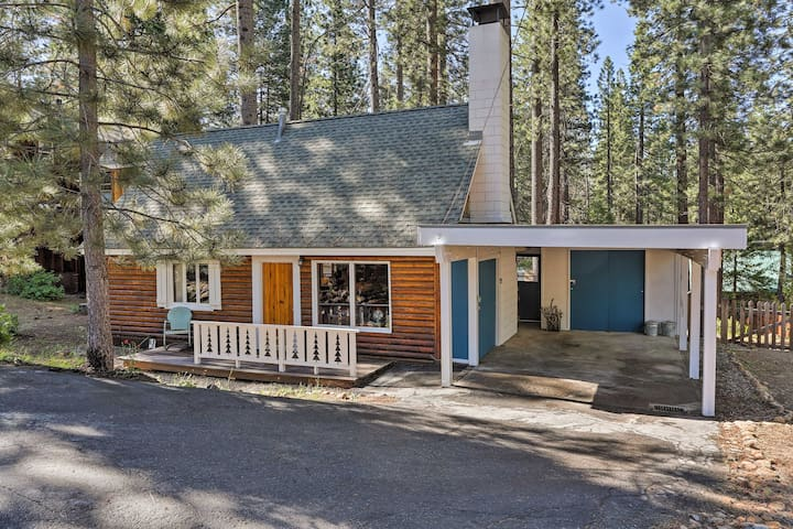The mid-century cabin is situated on a triple lot.