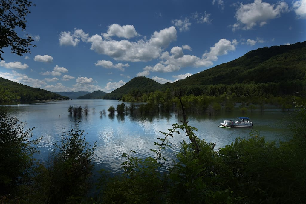 View of near-by Watauga Lake, where you can rent a boat, hike and go swimming