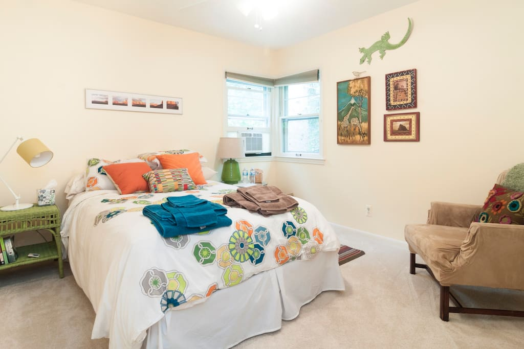 Air-conditioned corner room with double bed.