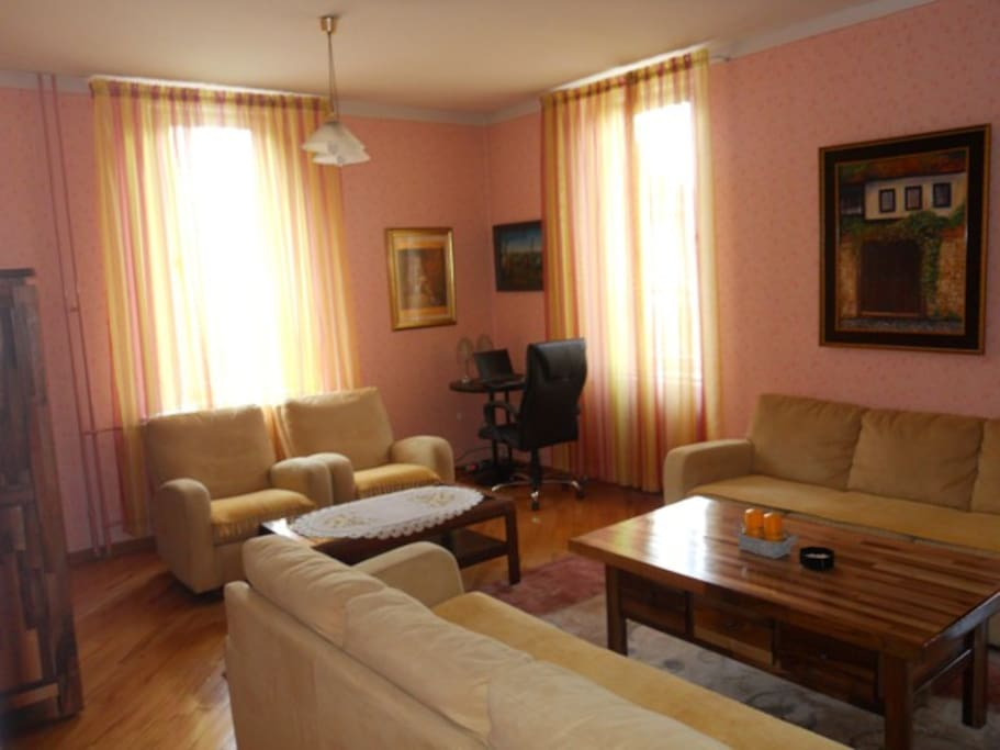 The living room is the biggest room in the house, with two big, cozy sofas, two armchairs,  plazma TV, cable and one big table in the middle. The sofas are also adjusted for sleeping
