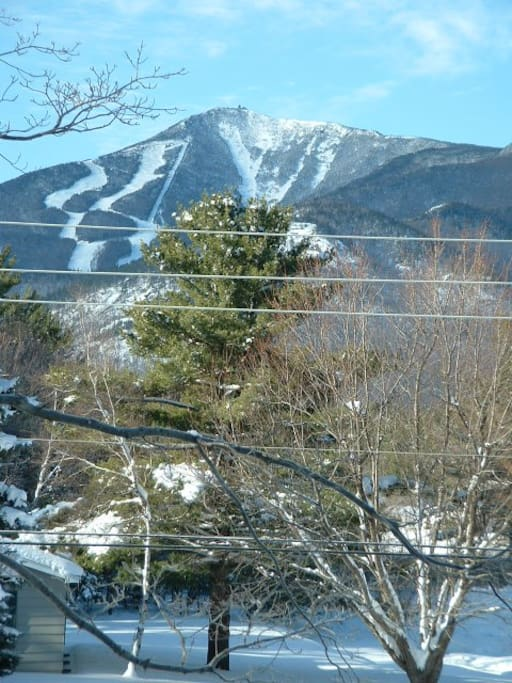 View of Olympic trails at Whiteface from upstairs bedrooms. Whiteface has the highest vertical in the East..